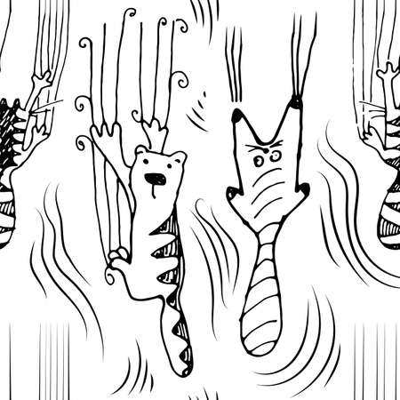 Hand drawing cute striped vector cats climbing the wall and leave scratches. Seamless pattern with black and white sketchy funky cat which making mess