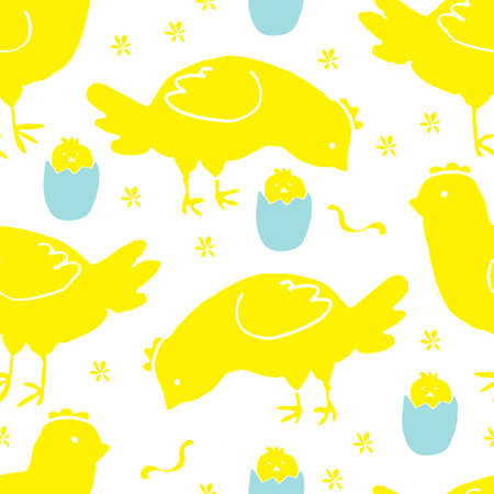 Hand Drawn Blue and Yellow Seamless Pattern with Chickens, Flowers, Eggs and Sun on White Background. Doodle or Sketched Funny Chicks Illustration