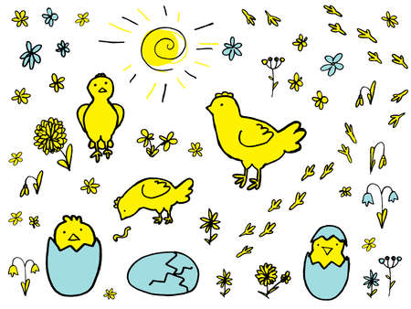 Set of Hand Drawn Vector Elements for Easter Design with Chickens, Flowers, Eggs and Sun Isolated on White Background. Doodle or Sketched Funny Chicks Illustration
