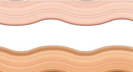 Flüssige Foundation-Creme-Textur für natürliches Make-up oder kosmetische Concealer-Schmierstriche im Hintergrund. Realistische 3D-Vektorillustration