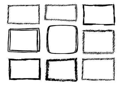 Hand Drawn Vector Frames Collection Isolated on White. Cartoon Style Doodle Borders with Pencil Effect or Charcoal Texture