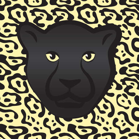 Black Jaguar Face or Predatory Panther Muzzle with Fur Texture. Vector Illustration of African Wild Cat for Trendy Animal Prints