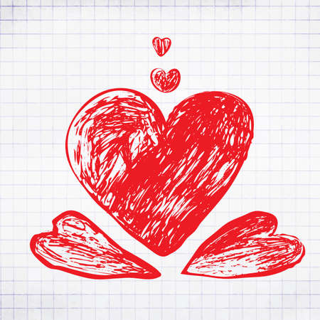 Hand Drawing Red Hearts. Scetched Doodle Love Symbol for Greening Card 向量圖像