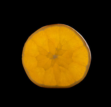 Sliced Luminous Orange Section or Glowing Pomelo Fruit Closeup. Slice of Ruby Citrus Isolated with Clipping Path 版權商用圖片