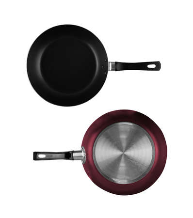 Non stick frying pan metallic bottom or underside isolated on white background top view Stock fotó