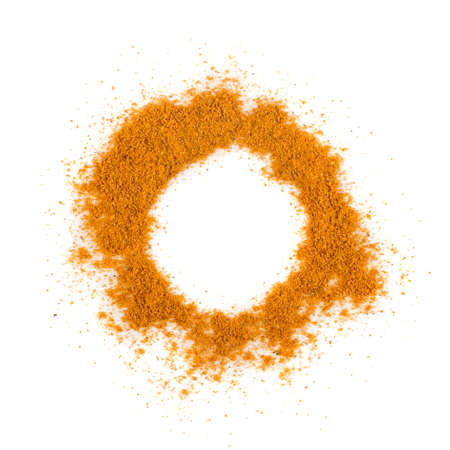 Mixture of Indian Spices and Herbs Powders with Cumin, Curry, Curcuma, Turmeric and Chilli Pepper. Orange Seasoning Powder Mix Isolated on White Background Top View