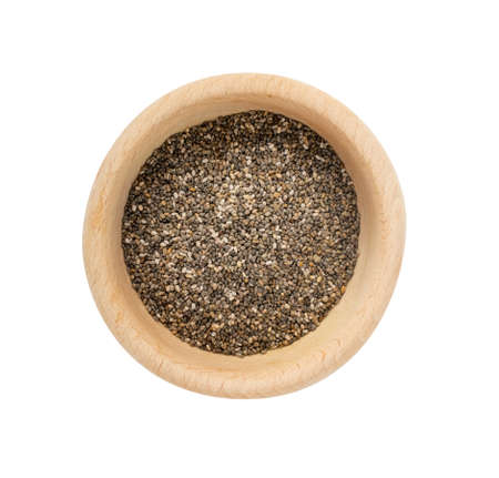 Pile of Chia Seeds Isolated on White Background. Salvia Hispanica also Known as Superfood or Super Food Top View