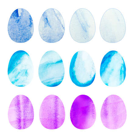 Hand drawn watercolor bird eggs illustration collection isolated. Water color egg for holiday spring or watercolor easter elements on paper texture