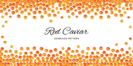 Raw red caviar seamless pattern isolated. Salted or fresh salmon fish eggs, trout roe 3d realistic vector background with place for text Illustration