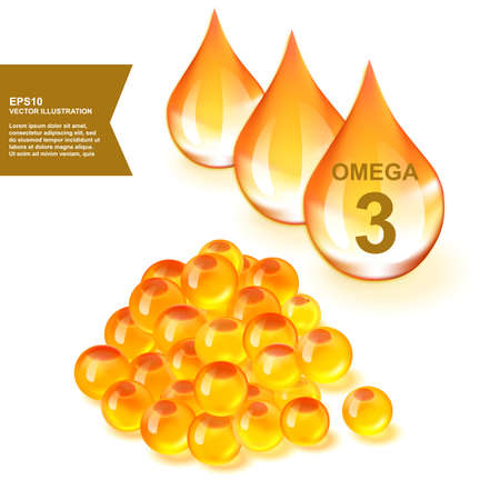 Fish Oil Drops with Omega 3 Supplement 3d Vector Illustration. Golden Vitamin Droplet of Salmon Fat with EPA, ALA and DHA