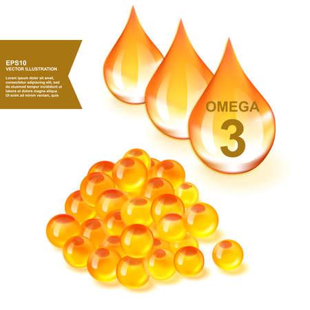 Gotas de aceite de pescado con suplemento de Omega 3 ilustración vectorial 3d. Gotita de vitamina dorada de grasa de salmón con EPA, ALA y DHA Ilustración de vector