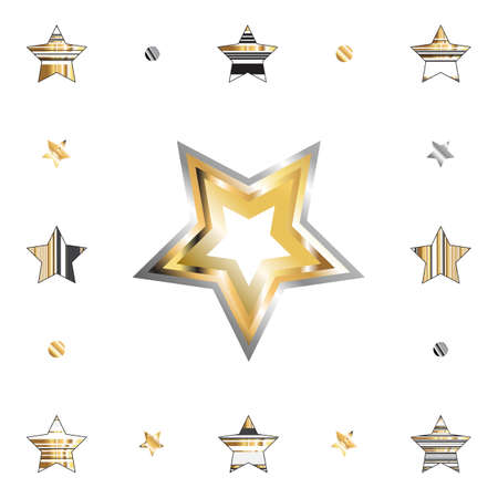 Gold star with metal gradient isolated on white background for holiday design. Golden and silver stars icon collection