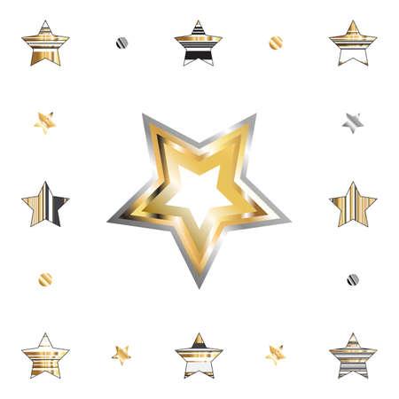 Gouden ster met metalen verloop geïsoleerd op een witte achtergrond voor vakantie ontwerp. Gouden en zilveren sterren icoon collectie