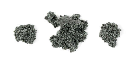 Small Black Caviar Isolated on White Background Top View and Close Up