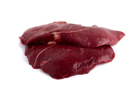 Fresh Deer Meat or Venison Isolated on White Background. Raw Venison Fillet Top View