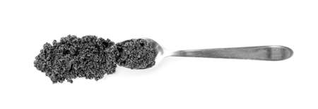 Small Black Caviar in Spoon Isolated on White Background Top View and Close Up