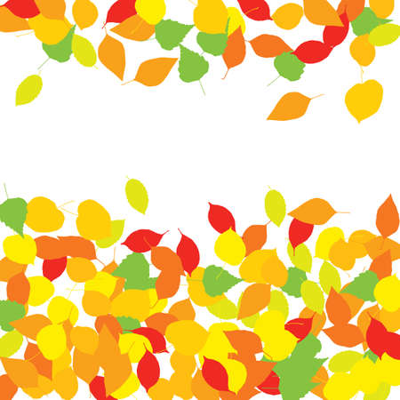 Colourful autumn leaves or foliage silhouettes pattern on white background. Texture of vector fall tree leaf shapes with place for text or copy space
