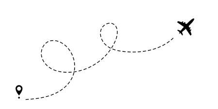 Airplane dotted path, aircraft tracking