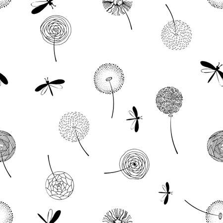 Hand drawn fluffy dandelion silhouettes seamless pattern. Endless background with dandelions seeds and dragonfly