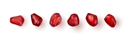 Set of realistic pomegranate seeds isolated on white background. Imagens