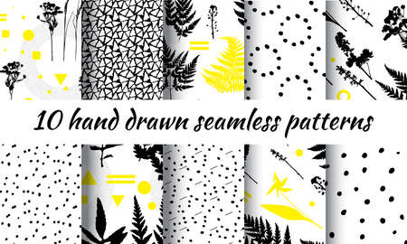 Abstract geometric design with plant elements on white background. Botanical seamless pattern or modern summer poster with leaf and grass shapes