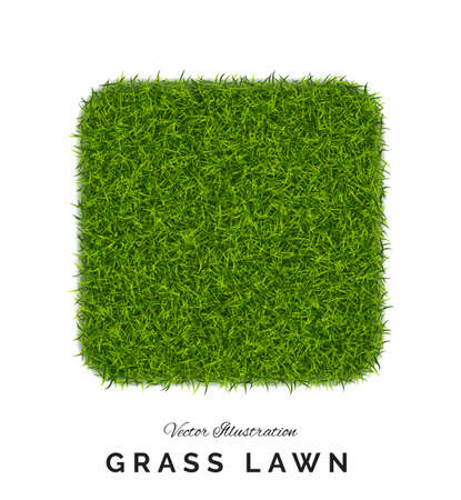 Fake green grass square background. Eco home concept with 3d turf football soccer field illustration isolated