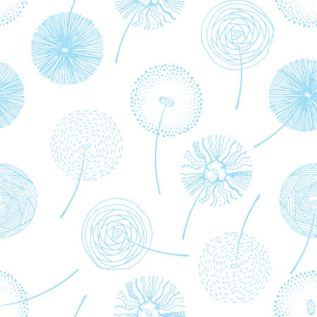 Hand drawn blue fluffy dandelion silhouettes seamless pattern. Endless background with dandelions seeds and grass