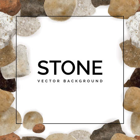 Collection of Colorful Round River Pebbles or Sea Stones Frame Background.