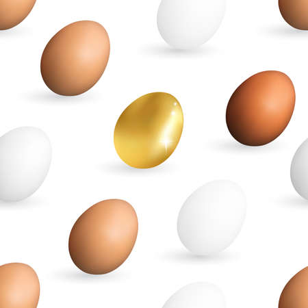 Realistic White, Brown and Golden Chicken Eggs Pattern.