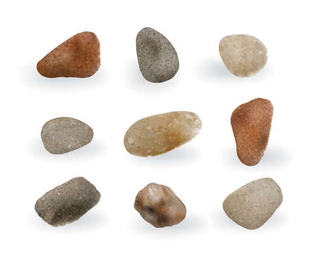 Collection of Colorful Round River Pebbles or Sea Stones Isolated.
