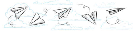 Sketched paper plane, flight drawing or airplane doodle on blue clouds background.