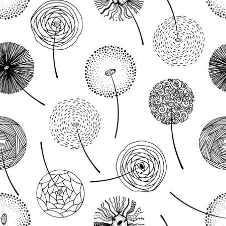Hand drawn fluffy dandelion silhouettes seamless pattern. Endless background with dandelions seeds and grass Imagens