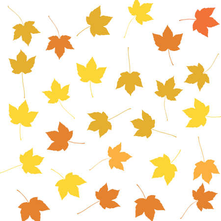 Colorful autumn maple leaves or foliage silhouettes pattern on white background.