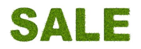 Fake green grass word SALE.