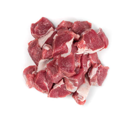 Raw chopped lamb fillet, diced tenderloin or cubed mutton sirloin meat isolated. Fresh sheep fillet cubes, loin filet with ground pepper for skewers top view
