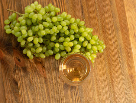 White wine glass on ripe bunch of grapes background in sunny day. Wineglass with golden grape sparkling drink on wooden rustic winery table top view