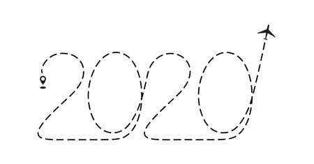 Airplane 2020 dotted path, aircraft tracking, trace or road vector illustration. New Year plane track to point, line way, air lines