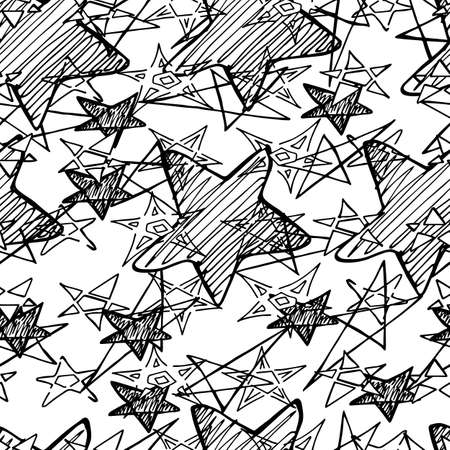 Creative hand drawn grunge black and white seamless sketch with stars. Doodle scribble endless star texture, hand drawn asterisk silhouettes