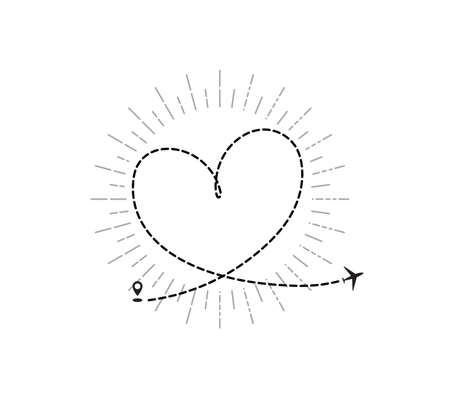Romantic travel concept with airplane dotted heart path, aircraft love tracking, trace or road vector illustration. Plane track to point, line way or air lines Illustration