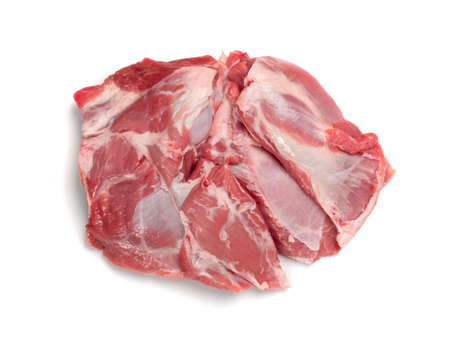 Fresh raw mutton shoulder meat with bone isolated on white background. Large piece of sheep fillet or filet closeup