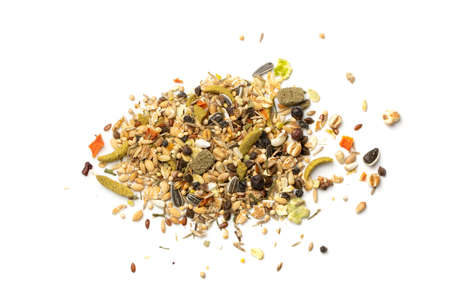 Dry rodent food mix for mouse, rabbit or degu isolated on white background. Balanced hamster feed with cereals, seeds, peas, dried vegetables 스톡 콘텐츠