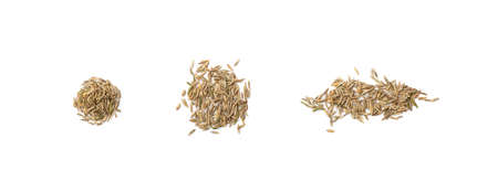 Heap of dry loan grass seeds isolated on white background top view