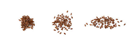 Heap of Dry Raw Unpeeled Flax Seeds Isolated on White Background Top View. Uncooked Hulls Linseeds Cut Out