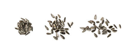 Pile of small striped sunflower seeds with shell isolated on white background top view. Heap of dry roasted edible oil seeds closeup