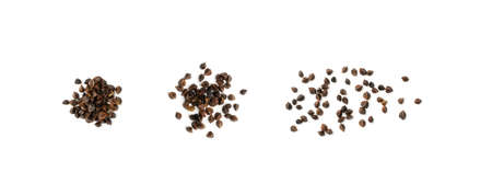 Heap of Dry Raw Unpeeled Buckwheat Grains Isolated on White Background Top View. Russian Kasha or Uncooked Hulls Pseudocereal Buck Wheat Cut Out