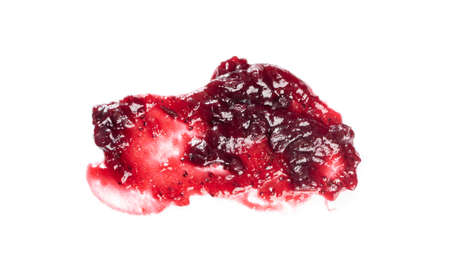Dark red berry jam blot frame or spot isolated on white background. Sweet confiture drops or marmalade splash top view