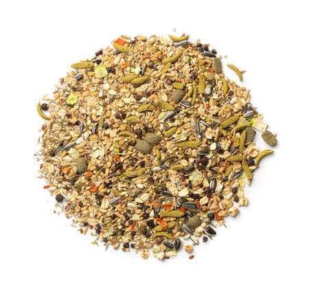Dry rodent food for mouse, rabbit or degu isolated on white background top view. Balanced hamster feed with cereals, seeds, peas, dried vegetables