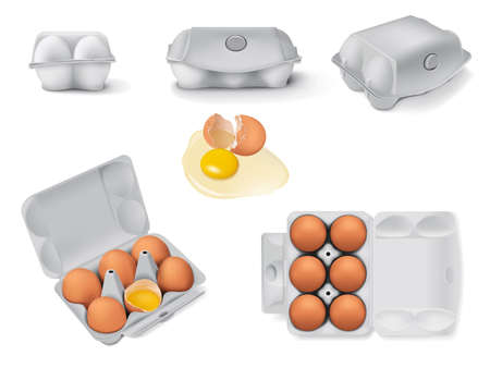 Set of egg boxes with six whole brown eggs and one broken egg realistic 3d vector illustration. Fresh organic chicken eggs in cartons pack or egg containers