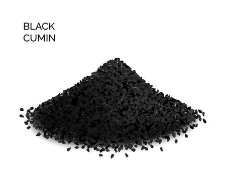Pile of black cumin or black caraway spicy seeds isolated on white background top view. Vector illustration of nigella sativa also known as nigella, kalojeere and kalonji Vektoros illusztráció