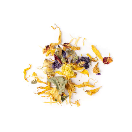 Heap of Dried Yellow Flower Mix Isolated on White background. Pile of Dry Flower Tea, Light Orange and Blue Small Edible Flowers and Petals, Alternative Medicine Supplements Top View